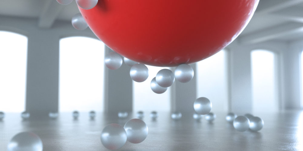 A creative concept showing small opaque spheres swarming around a large red sphere.